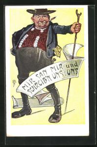 AK dicker Mann mit Zigarre in bayerische Tracht