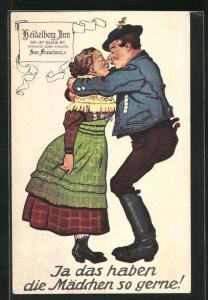 AK Paar in bayerische Tracht küsst sich