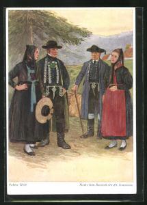 AK Paare in schwäbische Tracht