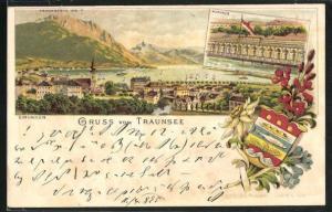 Vorläufer-Lithographie Gmunden, 1895, Ansicht vom Kurhaus, Ortsansicht gegen Traunstein, Wappen