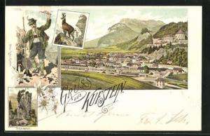 Lithographie Kufstein, Panoramablick auf die Stadt, Teufelskanzel