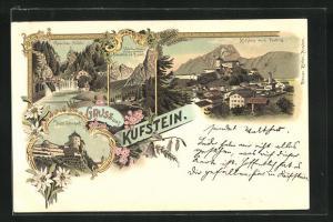 Lithographie Kufstein, Ortsansicht gegen Pendling, Sparchen-Mühle, Veste Geroldseck