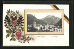 Passepartout-Lithographie Mayrhofen, Teilansicht mit Kirche, Passepartout mit Österreichischem Doppeladler