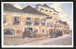 Künstler-AK Enns, Hotel-Restaurant zum goldenen Ochsen, Wienerstrasse 5-7
