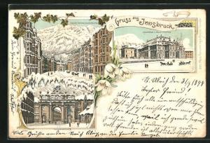 Winter-Lithographie Innsbruck, Stadtsäle und Stadttheater, Maria-Theresienstrasse
