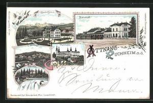 Lithographie Attnang-Puchheim, Bahnhof-Hotel, Bahnhof von der Gleisseite, Traunfall
