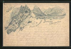 Lithographie Pertisau a. Achensee, Ansicht vom Hotel Stefanie
