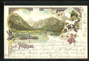 Lithographie Pertisau a. Achensee, Dampfer auf dem Achensee, Blick zum Ort