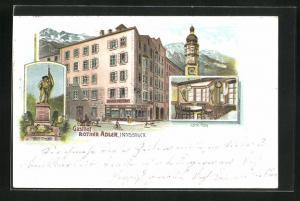 Lithographie Innsbruck, Gasthof Rother Adler, Hofer Tisch