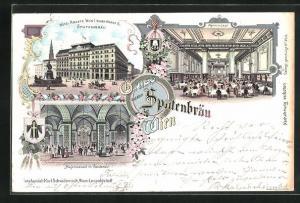 Lithographie Wien, Hotel Krantz mit Gasthaus Spatenbräu, Neuer Markt 6