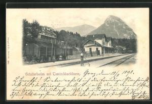 AK Gstatterboden, Bahnhof mit Tamischbachthurm