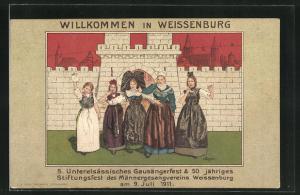 Künstler-AK Weissenburg, 5. Unterelsässisches Gausängerfest & 50 jähriges Stiftungsfest des Männergesangsvereins 1911