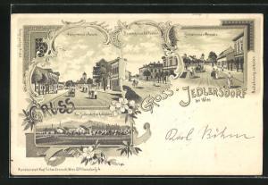 Lithographie Gross-Jedlersdorf, Amtsstrasse v. Ostseite, Amtsstrasse v. Westseite, Baumergasse u. K. K. Postamt