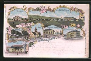 Lithographie Strebersdorf, Gemeinde Gasthaus, Kirche, Villa Böck