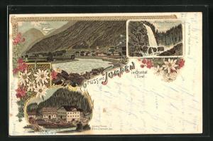 Lithographie Tumpen im Ötzthal, Gasthof Alois Schmalz, Mühlbach-Wasserfall