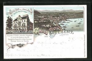 Lithographie Bregenz am Bodensee, Hôtel Post und Panorama