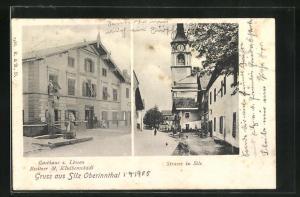 AK Silz im Oberinnthal, Gasthaus zum Löwen, Strasse mit Kirche