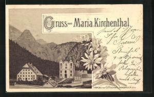 Vorläufer-AK Maria Kirchenthal, 1895, Blick auf Kirche, Edelweiss