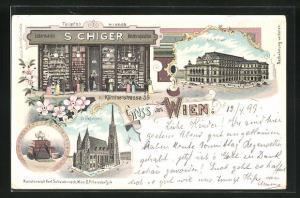 Lithographie Wien, Lederwaren & Reiserequisiten S. Chiger, Kärntnerstrasse 59, Hofoper, Stefansdorm