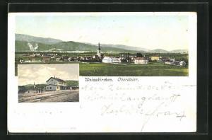 AK Weisskirchen, Gesamtansicht, Bahnhof