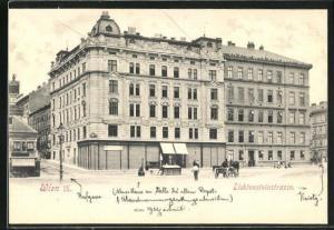 AK Wien, Lichtensteinstrasse mit Pferdewagen