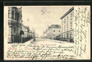 AK Wien, Cottage: Prinz Eugen-Strasse mit Laterne
