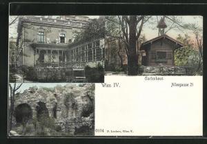 AK Wien, Haus in der Alleegasse 21 mit Gartenhaus, Ruine
