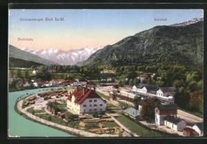 AK Bad Ischl / Salzkammergut, Bahnhof und Dachstein