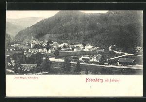 AK Hohenberg, Ortsansicht mit Bahnhof