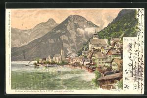 Künstler-AK Otto Strützel: Hallstatt, Teilansicht mit Bergen