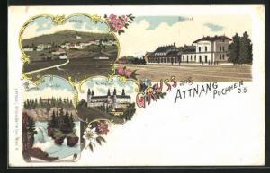 Lithographie Attnang-Puchheim, Gesamtansicht, Bahnhof, Traunfall