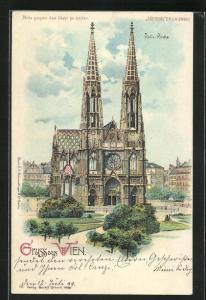 Lithographie Wien, Votiv-Kirche, Halt gegen das Licht: Ansicht bei Nacht