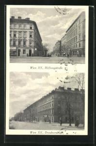 AK Wien, Blick in Hellwagstrasse und Dresdnerstrasse