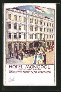 Künstler-AK Wien, Hotel Monopol, Mariahilfer Strasse 81