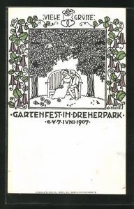 Künstler-AK Wien, Gartenfest im Dreherpark, Juni 1907