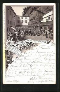 Vorläufer-Lithographie Salzburg, 1894, Gasthaus Stifts-Kellerei St. Peter, Innenhof