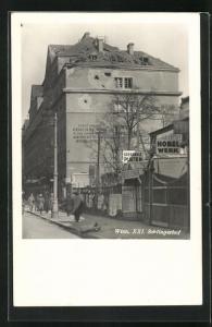 AK Wien, Haus am Schlingerhof mit Granattreffern