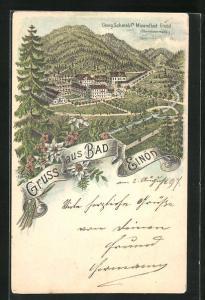 Lithographie Bad Einöd, Georg Schmalzl`s Mineralbad