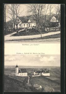 AK Graz, Gasthaus zur Esche, Kirche und Schloss St. Martin