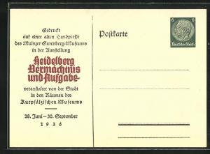 AK Heidelberg, Ausstellung Vermächtnis und Aufgabe 1936, Ganzsache PP127 C20