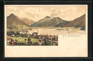 Künstler-Lithographie Otto Strützel: Schliersee, Panorama
