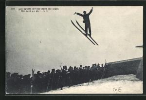 AK Les sports d`hiver dans les alpes, Un saut de ski, Skisprung