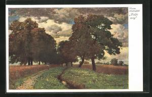 Künstler-AK Hermann Rüdisühli: Feldweg, Landschaft