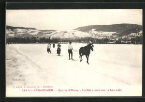 AK Wintersport, Pferd zieht einen Mann auf Ski