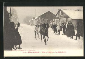 AK Wintersport, Mann auf Ski wird vom Pferd gezogen