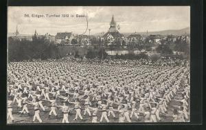 AK Basel, Eidgen. Turnfest 1912, Turner bei einer Vorführung