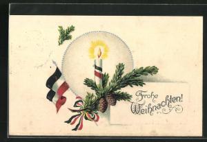 AK Weihnachtsgruss, Deutsche Fahne mit Kerze am Tannenzweig