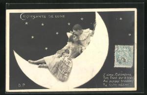 AK Harlekin mit junger Frau auf dem Mond
