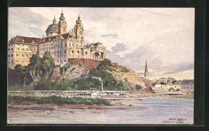 Künstler-AK Fritz Lach: Donaudampfer am Klosterstift Melk