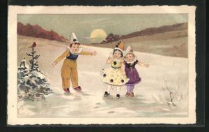 AK Harlekine bei Sonnuntergang im Schnee